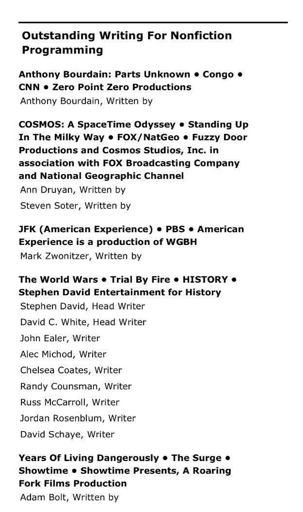 WorldWars Emmy nomination